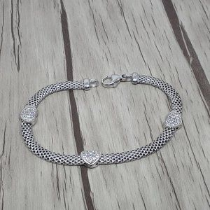 925 Sterling Silver Mesh Bracelet with hearts CZ